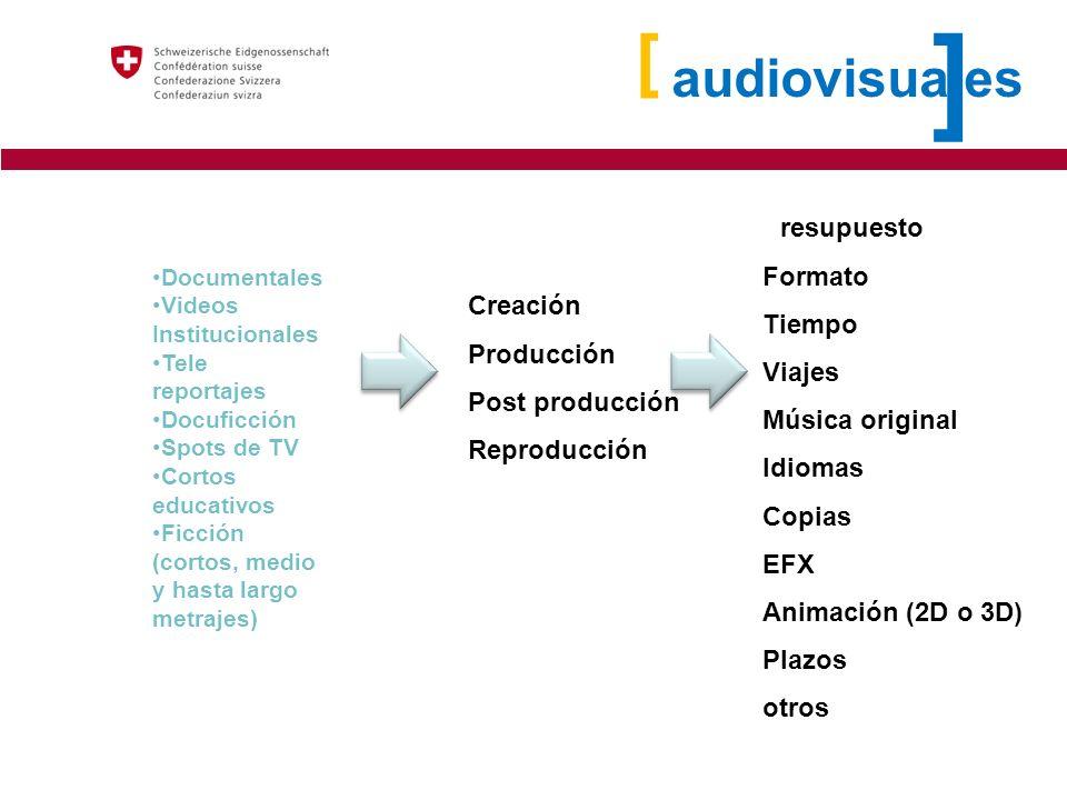 ] [ audiovisuales Presupuesto Formato Tiempo Viajes Creación